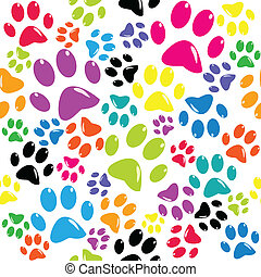 Seamless pattern with colored paws
