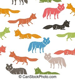 Seamless pattern with companion dogs or wolves or foxes on white background. Backdrop with funny purebred pet animals of various types. Flat cartoon vector illustration for wallpaper, fabric print. Vector