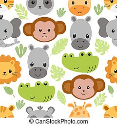 Seamless pattern with cute animal faces