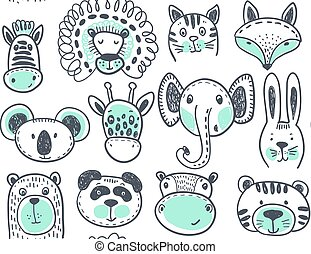 Seamless pattern with cute animal heads, endless background