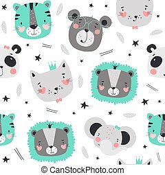 Seamless pattern with cute animals in Scandinavian style.