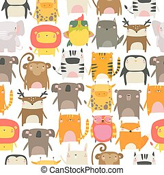 Seamless pattern with cute animals on white background