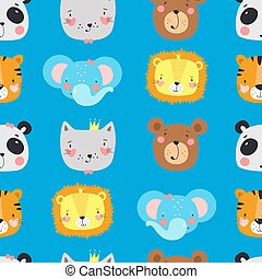 Seamless pattern with cute animals.