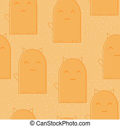 Seamless pattern with cute cartoon cats on orange background. Funny kittens