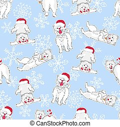 seamless pattern with cute cartoon drawing funny white dog in christmas hats with candy cane on light blue background with snowflakes, editable vector illustration for fabric, textile, decoration