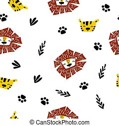Seamless pattern with cute cartoon tiger and lion