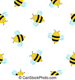 Seamless pattern with cute honey bees illustration