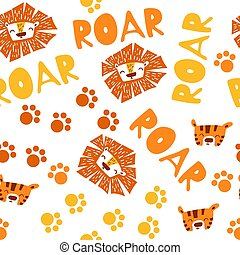 Seamless pattern with cute lion and tiger faces