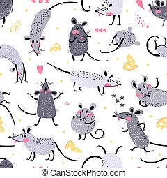 Seamless pattern with cute rats. Funny little mice for a repeatable design of surfaces and fabrics. Symbol of the New Year 2020. Vector illustration
