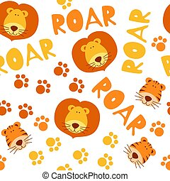 Seamless pattern with cute tigers and lions