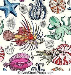 Seamless pattern with deepwater organisms