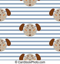 Seamless pattern with dogs cute childish textile fabric seamless print.