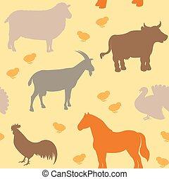 Seamless pattern with farm animals