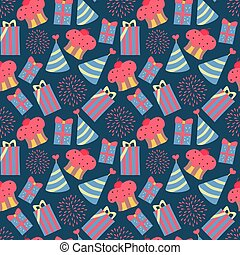 seamless pattern with fireworks in vector