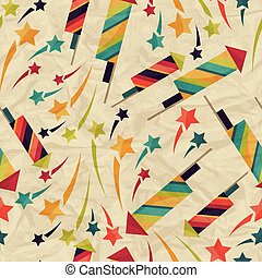 Seamless pattern with fireworks on crumpled paper.