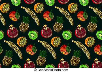 Seamless pattern with fruits on green background