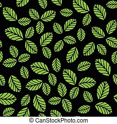 Seamless pattern with green strawberry leaves