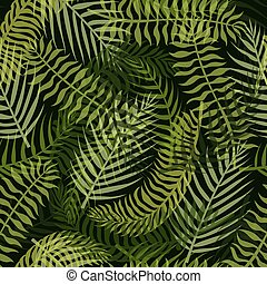 Seamless pattern with green tropical leaves on the dark background.