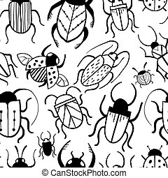 Seamless pattern with hand drawn doodle insects