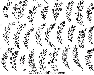 Seamless pattern with hand drawn leaves and branches. Vector endless natural background. The elegant illustration for fashion prints, fabric, scrapbook.