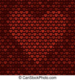 Seamless pattern with hearts on dark background