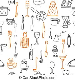 Seamless pattern with kitchen utensil