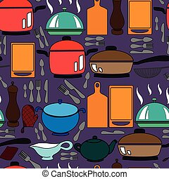 Seamless pattern with kitchen utens