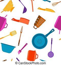 Seamless pattern with kitchen utensils.