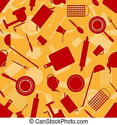 Seamless pattern with kitchen utensils