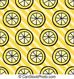 Seamless pattern with lemon on stripped background.