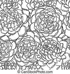 seamless pattern with monochrome, black and white flowers. Hand-drawn contour lines and strokes.