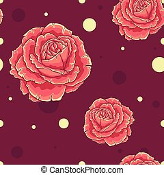 Seamless pattern with orange roses on dark red background