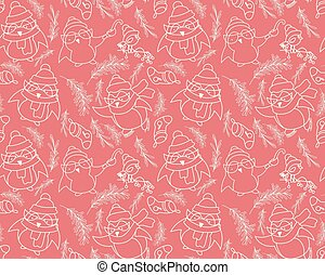 Seamless pattern with penguins in vector