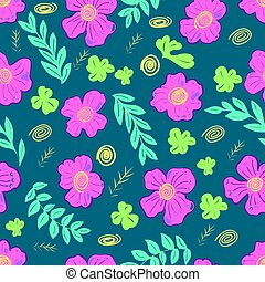 Seamless pattern with pink flowers on green