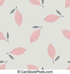 Seamless pattern with random doodle lemon pastel pink ornament. Light grey background.