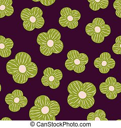 Seamless pattern with random green simple flower elements ornament. Dark purple background.
