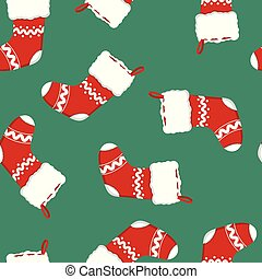 seamless pattern with red Christmas stocking on green background