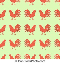 Seamless pattern with red roosters on green background