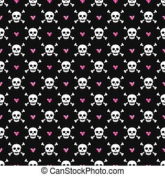 Seamless pattern with skulls and glittering hearts.