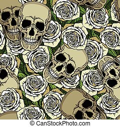 Seamless pattern with skulls and white roses