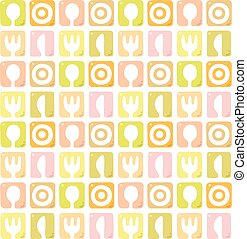Seamless pattern with spoon, fork, plate and knife