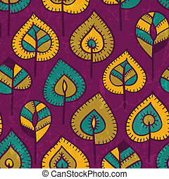Seamless pattern with stylized leaves.