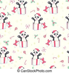 Seamless pattern with the image of a cute Panda in a cartoon style. Children vector background.