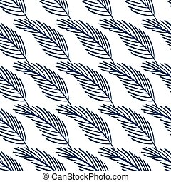 Seamless pattern with tropic leaves on white background