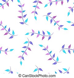 Seamless pattern with twig ornament in purple, pink and light blue pink tones on a white background