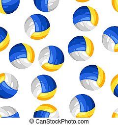 Seamless pattern with volleyball balls in flat style.