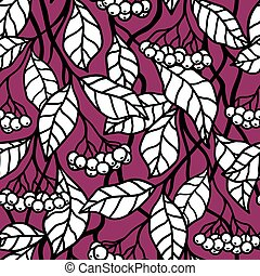 SEAMLESS PATTERN WITH WHITE BERRIES ON A PINK BACKGROUND IN VECTOR