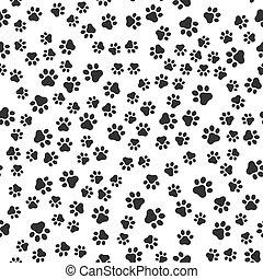 Seamless pet paw pattern background. Dog or cat paw wallpaper illustration footprint