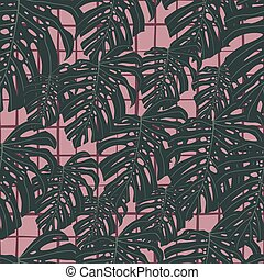 Seamless random dark botanic pattern with monstera leaf ornament. Pink chequered background.