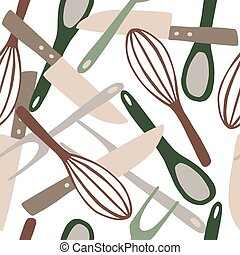 Seamless random isolated pattern with kitchen ware ornament. Knife, spoon, fork, corolla tools ornament in pastel colors on white background.